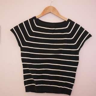 Gap Navy Blue and White Stripes Shirt