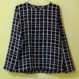 Black and White Square Blouse