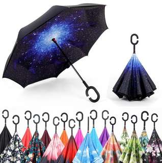 Reverse Umbrella Inverted C-Handle Double Layer Solid Colour with Free Carrying Case