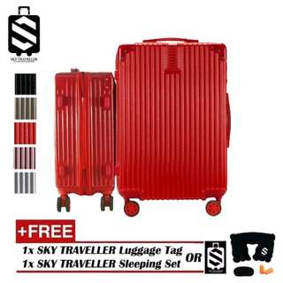 SKY TRAVELLER SKY290 2-In-1 Premium Ultralight Vintage Style Luggage Set With 8 Wheels (20Inch+24Inch)