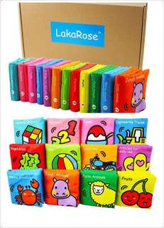 🌈(READY STOCK)🆕Brand New with Box Lakarose Rainbow Baby Early Development Educational Cloth Books (Set of 12 books - English Version)