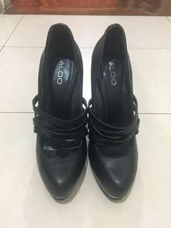 Aldo Black Leather Strappy Pumps