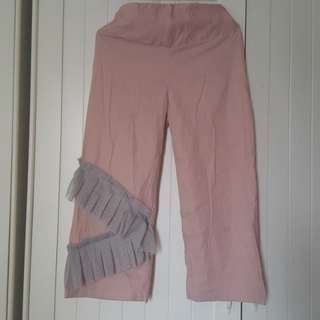 Celana kain dusty pink