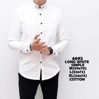 Kemeja Polos Putih Pria Lengan Panjang Baju Cowok Pakaian Katun