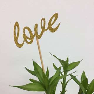 Love - Cake Topper - set of 10