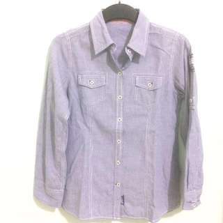 Blue Shirt with Small Square Pattern