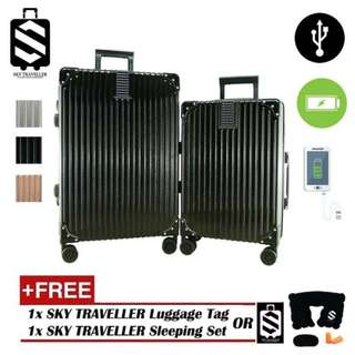 SKY TRAVELLER SKY288 2-In-1 Aluminium Frame 2 USB Charging Port Classical Luggage Set (20Inch+24Inch)