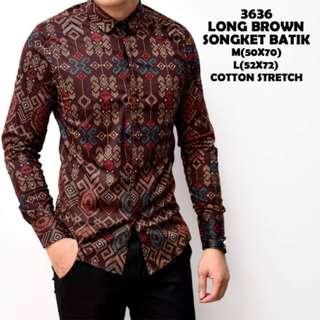 Kemeja Batik Pria Coklat Lengan Panjang Laki Kerja Kantor Baju Cowok