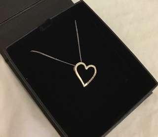 9ct white gold genuine diamond necklace