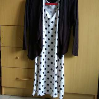 Preloved dress motif polkadot
