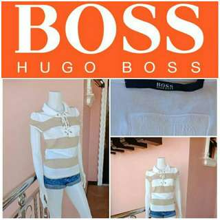 -Yunik- Authentic Hugo Boss Lace Up Collared Shirt in Stripes