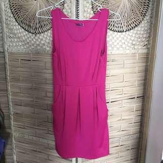 Plain pink formal dress