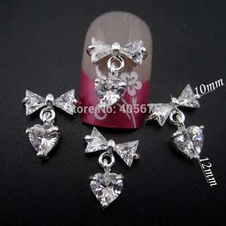 MNS713  Nails decorations new arrive Zircon bow nail art 3d glitter heart  bows chain pendant charms 5pcs