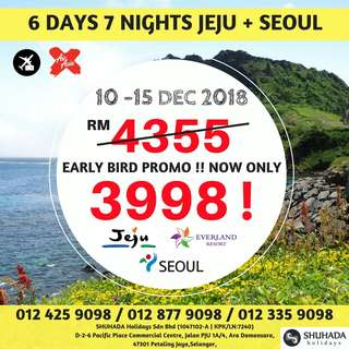6DAYS 5NIGHTS JEJU SEOUL, KOREA - SPECIAL DEAL