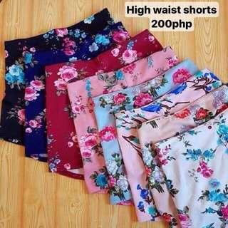 High waist floral shorts