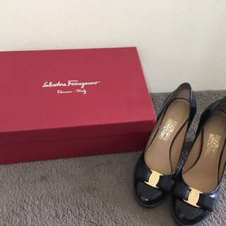 Authentic Salvatore Ferragamo Black Wedges Size 8