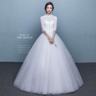 Wedding Collection - Classical Collar Design Mid Length Lace Sleeves Wedding Gown