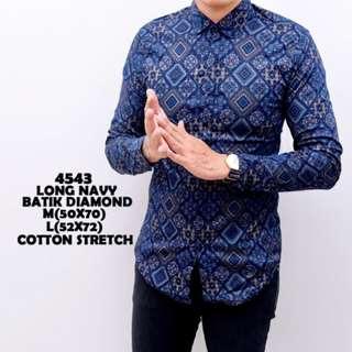 Kemeja Batik Pria Biru Lengan Panjang Slimfit Katun Baju Cowok