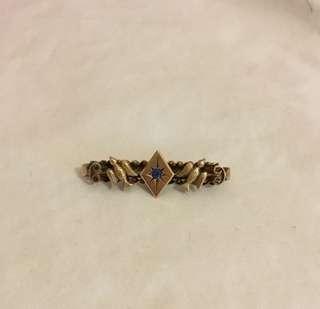 9ct gold antique bluebird sapphire brooch