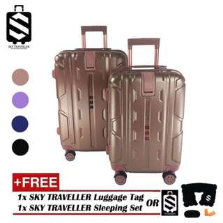 SKY TRAVELLER SKY286 2-in-1 New Generation 8-Wheels Premium Luggage With Handbag Handle And Bottle Cup Holder (20 Inch+24 Inch)