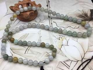 舊工天然翡翠糯種水潤三色珠頸串