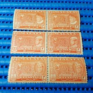 Malaya 2 Cents Stamps of all the states of Malaysia. Johore, Kedah, Kelantan, Malacca, Negri Sembilan, Pahang, Perak, Perlis, Penang, Selangor & Terengganu. 11X 2X 2 Cents UM Stamps Set