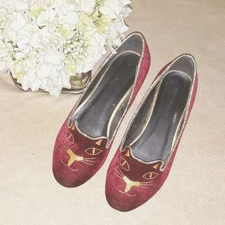 Suede Kitty Flats Red