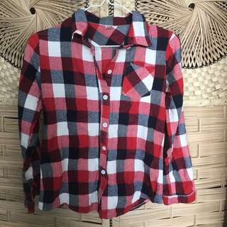 Plaid red button down