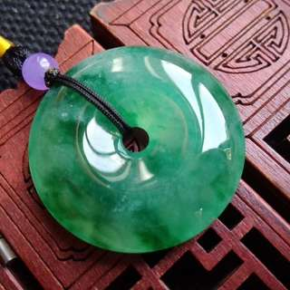翡翠A貨完美有種有色滿綠平安扣吊墜特包郵順豐,配送證書