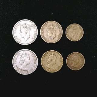 50年代香港硬幣共6個 (圖視實物)