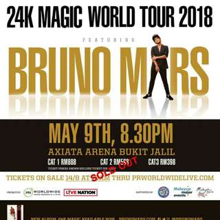 BRUNO MARS 24K MAGIC WORLD TOUR - Pair Ticket