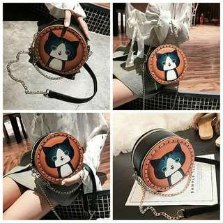 【現貨】 韓版 經典 動物 貓咪 包包 可愛 狗狗 側背包 麋鹿 肩背包 圓型 療癒 貓貓 包包 聖誕節 交換 禮物