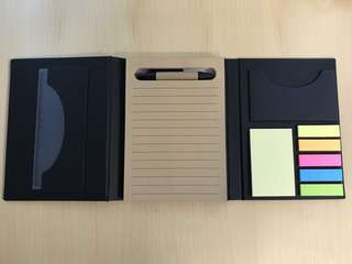Maybank notepad with post-it notes, pen and ruler.  Measure 11x15 cm folded up