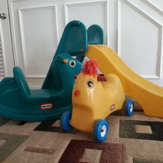 Little Tikes ride-on, slide,  rocking horse