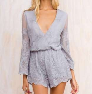 Princess Polly Grey Lace Long Sleeve Romper Playsuit