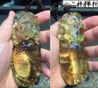 【吉祥】天然檸檬黃水晶雕件 - 渔翁釣魚