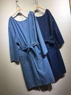 🚚 淺藍色牛仔洋裝 F size