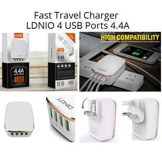 旅行唔洗拎拖板 快速充電器 Fast Charger LDNIO 4 USB Ports 4.4A For iphone 8/7/6/5 iphone X Samsung LG Tablets