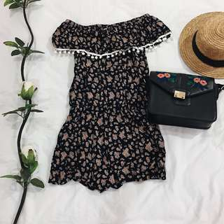 Floral Romper with Pompoms BRAND NEW
