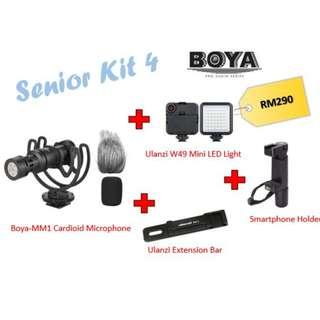 Boya BY-MM1 + Ulani W49 LED + SmarphoneTripod + Ulanzi Extension Bar (Senior Kit)