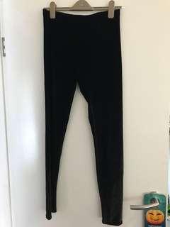 Sportsgirl Black Velvet Leggings Medium 12 14 Goth Gothic New Without Tags