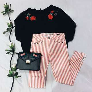 [SALE!!] Zara Red & White Striped Pants