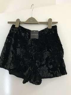Topshop Black Sequin Velvet High Waist Shorts 10 Goth Gothic 80s 90s Bnwt