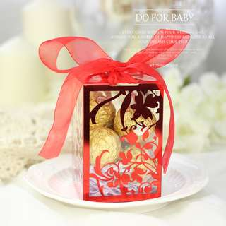 Flowery Transparent Box with Matching Ribbon