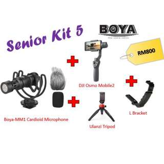 Boya BY-MM1 + DJI Osmo2 + Ulanzi Tripod + L-Bracket (Senior Kit)