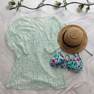 Teal Lace Coverup