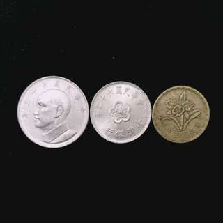 60-70年代舊版台湾硬幣共3個