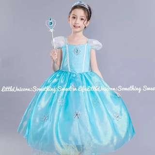 。110-150碼。 藍白色 冰雪風格 澎紗連身裙禮服