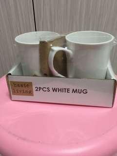 2pcs white mug