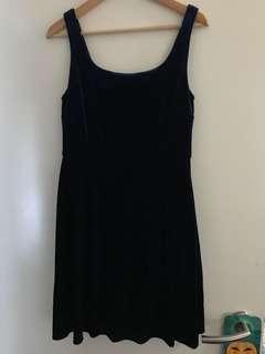 Forever New Blue Velvet Dress 12 50s Cute Rockabilly Vintage Bnwot